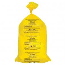 Мешки для мусора медицинские, в пачке 50 шт., класс Б желтые, 80 л, 70х80 см, 15 мкм, АКВИКОМП