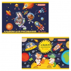 Альбом для рисования, А4, 12 л., обложка офсет, ПИФАГОР 'Космонавты', 104858