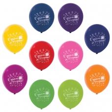Шары воздушные ЗОЛОТАЯ СКАЗКА, 12' 30 см, КОМПЛЕКТ 50 штук, ассорти 10 цветов, с рисунком 'C днем рождения', пакет