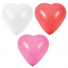 Шары воздушные в форме сердца ЗОЛОТАЯ СКАЗКА, 12' 25 см, КОМПЛЕКТ 50 штук, 3 цвета, пакет