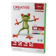 Бумага CREATIVE color Креатив, А4, 80 г/м2, 100 л., интенсив зеленая, БИpr-100з