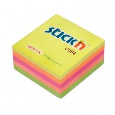 Блок самоклеящийся стикер HOPAX, 76х76 мм, 400 л., 5 цветов, неон, 21012