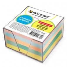Блок для записей BRAUBERG в подставке прозрачной, куб 9х9х5 см, цветной, 122226