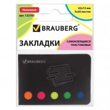 Закладки клейкие BRAUBERG НЕОНОВЫЕ пластиковые, 42х12 мм, 5 цветов х 20 листов, в картонной книжке, 122705