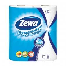 Полотенца бумажные бытовые, спайка 2 шт., 2-х слойные 2х14 м, ZEWA, белые, 144001