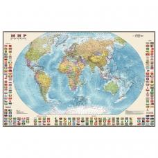 Карта настенная 'Мир. Политическая карта с флагами', М-1:30 млн., размер 122х79 см, ламинированная, тубус, 377