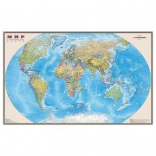 Карта настенная 'Мир. Политическая карта', М-1:20 млн., размер 156х101 см, ламинированная, тубус, 295