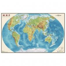 Карта настенная 'Мир. Физическая карта', М-1:25 млн., размер 122х79 см, ламинированная, тубус