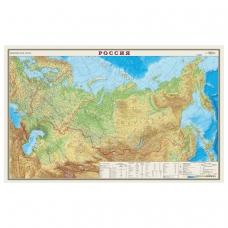 Карта настенная 'Россия. Физическая карта', М-1:7 млн., размер 122х79 см, ламинированная, тубус, 43