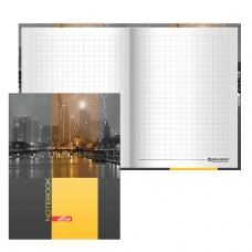 Блокнот 7БЦ, А6, 80 л., обложка ламинированная, выборочный лак, клетка, BRAUBERG, 'Ночной город', 110х147 мм, 123246