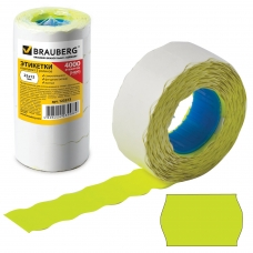 Этикет-лента 22х12 мм, волна, желтая, комплект 5 рулонов по 800 шт., BRAUBERG, 123573