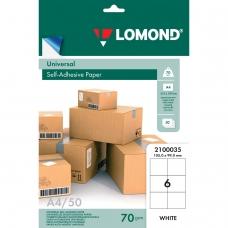 Этикетка самоклеящаяся 105х99 мм, 6 этикеток, белая, 70 г/м2, 50 л., LOMOND, 2100035
