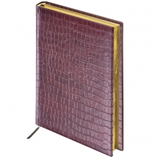 Ежедневник BRAUBERG недатированный, А5, 138х213 мм, 'Comodo', под матовую крокодиловую кожу, 160 л., т.-кор., крем.блок, зол.срез, 123838