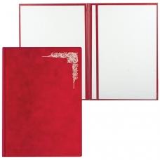 Папка адресная, бархатная красная, без надписи, 'Виньетка', формат А4, в индивидуальной упаковке, АП4-фк-047