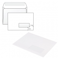 Конверты С5, КОМПЛЕКТ 1000 штук, отрывная полоса STRIP, белые, правое окно, 162х229 мм