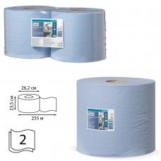 Бумага протирочная TORK Система W1, W2, КОМПЛЕКТ 2 штуки, Advanced, 750 листов в рулоне, 34х23,5 см, 2-слойная, 130052