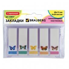 Закладки клейкие BRAUBERG 'Бабочки', пластик с картинкой, 48х15 мм, 5х20 л., в пластиковой книжке, 124813