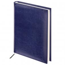Ежедневник BRAUBERG недатированный, А4, 175х247 мм, 'Imperial', под гладкую кожу, 160 листов, темно-синий, кремовый блок, 124971