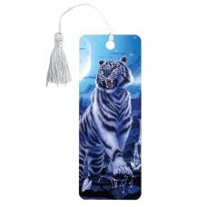 Закладка для книг 3D, BRAUBERG, объемная, 'Белый тигр', с декоративным шнурком-завязкой, 125754