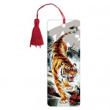 Закладка для книг 3D, BRAUBERG, объемная, 'Бенгальский тигр', с декоративным шнурком-завязкой, 125755