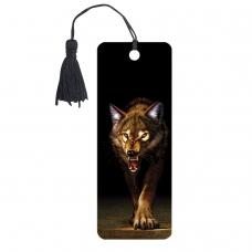 Закладка для книг 3D, BRAUBERG, объемная, 'Волк', с декоративным шнурком-завязкой, 125756