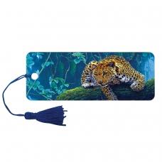 Закладка для книг 3D, BRAUBERG, объемная, 'Леопард', с декоративным шнурком-завязкой, 125766