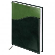 Ежедневник BRAUBERG недатированный, А5, 138х213 мм, 'Bond', под комбинированную кожу с волной, 160 л., зеленый/салат., 126219