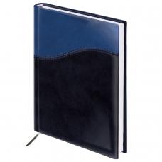 Ежедневник BRAUBERG недатированный, А5, 138х213 мм, 'Bond', под комбинированную кожу с волной, 160 л., темно-синий/синий, 126220