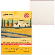 Папка для пастели А3, 297х420 мм, 20 л., BRAUBERG, тонированная бумага слоновая кость, ГОЗНАК, Скорлупа, 200 г/м2, 126304