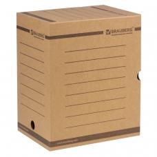 Короб архивный с клапаном, микрогофрокартон, 200 мм, до 1800 листов, плотный, бурый, BRAUBERG, 126510