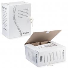 Папка архивная с завязками, микрогофрокартон, 150 мм, до 1400 листов, плотная, белая, BRAUBERG, 126513
