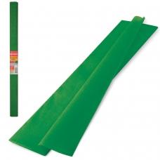 Цветная бумага крепированная плотная, растяжение до 45%, 32 г/м2, BRAUBERG, рулон, темно-зеленая, 50х250 см, 126537