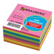 Блок самоклеящийся стикер, BRAUBERG, НЕОНОВЫЙ, 76х76 мм, 400 л., 8 цветов, 126686
