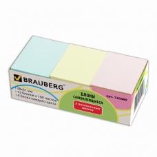 Блоки самоклеящиеся стикеры, BRAUBERG, 38х51 мм, 100 листов, комплект 12 блоков, 3 пастельных цвета, 126689