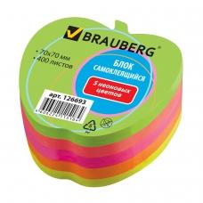 Блок самоклеящийся стикер, фигурный, BRAUBERG, НЕОНОВЫЙ, в форме яблока, 70х70 мм, 400 листов, 5 цветов, отверстие для ручки, 126693