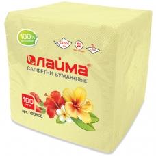 Салфетки бумажные, 100 шт., 24х24 см, ЛАЙМА, жёлтые пастель, 100% целлюлоза, 126908