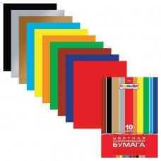 Цветная бумага А4 мелованная САМОКЛЕЯЩАЯСЯ, 10 листов 10 цветов, папка, HATBER Creative, 194х280 мм, 10Бц4с_05934, N050880