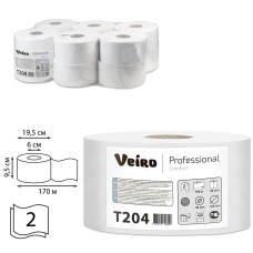 Бумага туалетная 170 м, VEIRO Professional Система T2, комплект 12 шт., Comfort, 2-слойная, T204