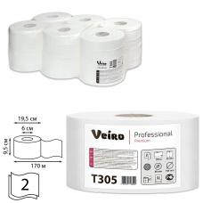Бумага туалетная 170 м, VEIRO Professional Система T2, комплект 12 шт., Premium, 2-слойная, T305