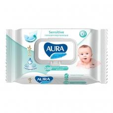 Салфетки влажные КОМПЛЕКТ 100 шт., для детей AURA 'Ultra comfort', гипоаллергенные, без спирта, крышка-клапан, 6486