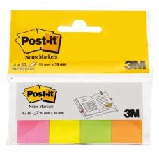 Закладки клейкие POST-IT Professional, бумажные, 20 мм, 4 цвета х 50 шт., 670-4N