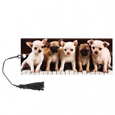 Закладка для книг с линейкой, 3D-объемная, BRAUBERG 'Милые щенки', с декоративным шнурком, 128098