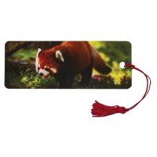 Закладка для книг с линейкой, 3D-объемная, BRAUBERG 'Красная панда', с декоративным шнурком, 128103