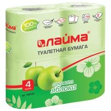 Бумага туалетная бытовая, спайка 4 шт., 2-х слойная 4х19 м, ЛАЙМА, аромат яблока, 128722