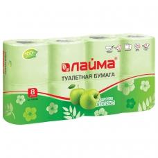 Бумага туалетная бытовая, спайка 8 шт., 2-х слойная 8х19 м, ЛАЙМА, аромат яблока, 128723