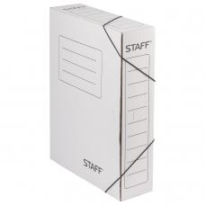 Папка архивная с резинкой, микрогофрокартон, 75 мм, до 700 листов, белая, STAFF, 128878