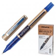 Ручка-роллер ZEBRA 'Zeb-Roller DX7', СИНЯЯ, корпус золотистый, узел 0,7 мм, линия письма 0,35 мм, EX-JB3-BL
