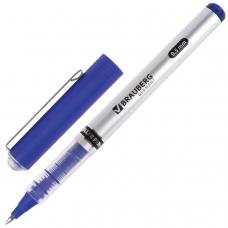 Ручка-роллер BRAUBERG 'Flagman', СИНЯЯ, корпус серебристый, хромированные детали, узел 0,5 мм, линия письма 0,3 мм, RP103