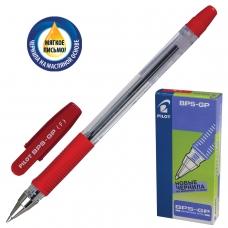 Ручка шариковая масляная с грипом PILOT 'BPS-GP', КРАСНАЯ, корпус прозрачный, узел 0,7 мм, линия письма 0,32 мм, BPS-GP-F