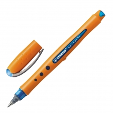 Ручка-роллер STABILO 'Worker', СИНЯЯ, оранжевый корпус 'soft-touch', узел 0,7 мм, линия письма 0,5 мм, 2018/41